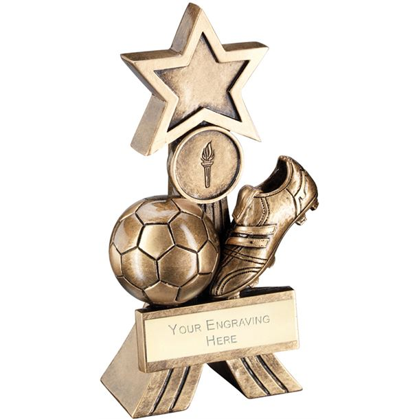 """Antique Gold Football Shooting Star Trophy 12.5cm (5"""")"""