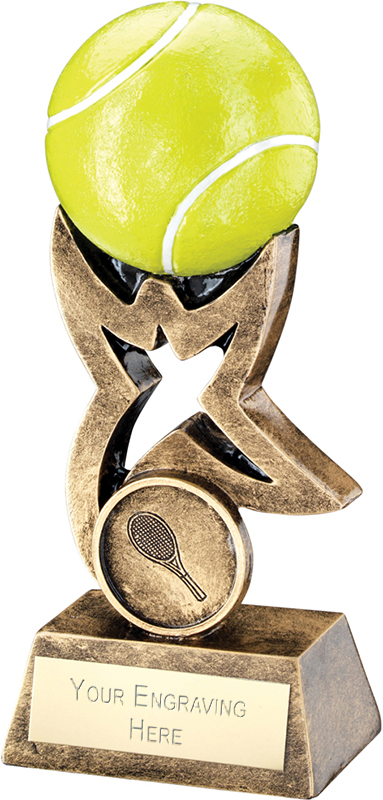 """Antique Gold and Yellow Tennis Ball on Star Riser Trophy 10cm (4"""")"""