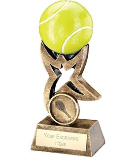 "Antique Gold and Green Tennis Ball on Star Riser Trophy 14cm (5.5"")"