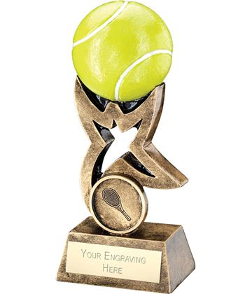 "Antique Gold and Green Tennis Ball on Star Riser Trophy 18cm (7"")"