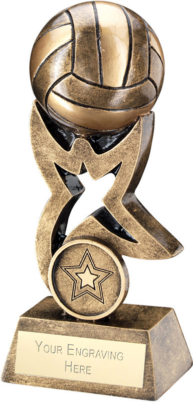 """Antique Gold Volleyball on Star Trophy 10cm (4"""")"""