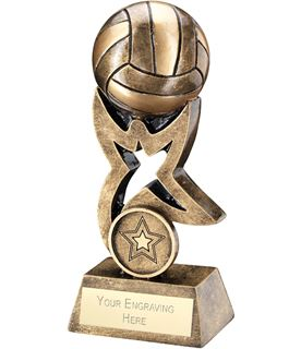 "Antique Gold Netball on Star Trophy 14cm (5.5"")"