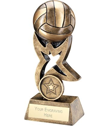 "Antique Gold Netball on Star Trophy 10cm (4"")"