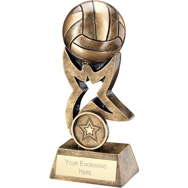 "Antique Gold Volleyball on Star Trophy 14cm (5.5"")"