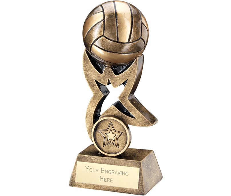 "Antique Gold Gaelic Football on Star Trophy 14cm (5.5"")"