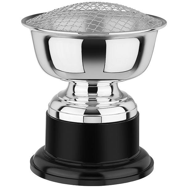 "Silver Plated Rose Bowl on Black Base 21.5cm (8.5"")"