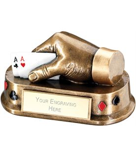 """Antique Gold Playing Cards Hand Trophy 16.5cm (6.5"""")"""