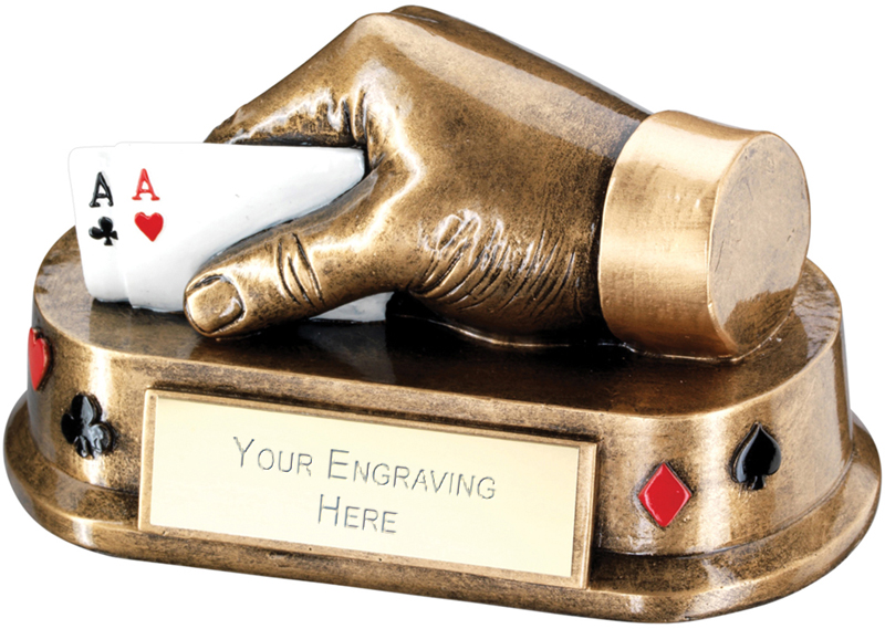"Antique Gold Playing Cards Hand Trophy 16.5cm (6.5"")"