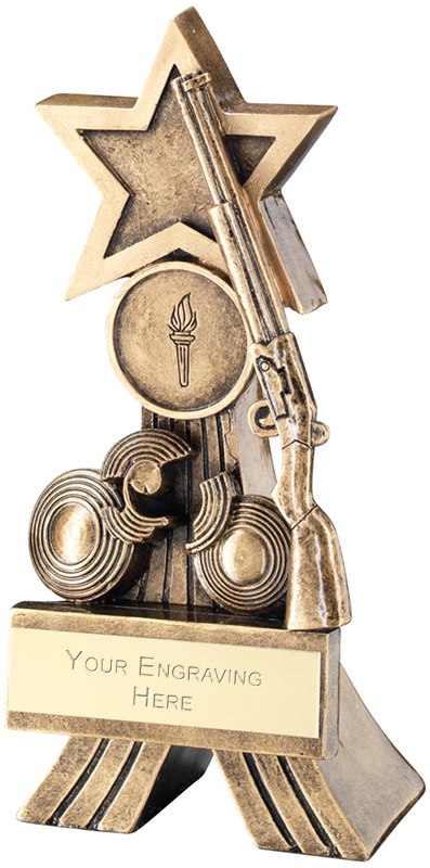 """Antique Gold Rifle and Clay Shooting Star Trophy 15cm (6"""")"""