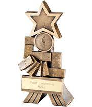 """Antique Gold Dominoes Shooting Star Trophy 12.5cm (5"""")"""