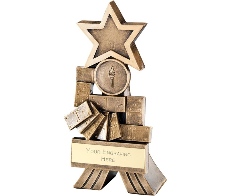 "Antique Gold Dominoes Shooting Star Trophy 12.5cm (5"")"