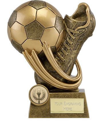 "Epic Resin Football Boot & Ball Trophy 14cm (5.5"")"