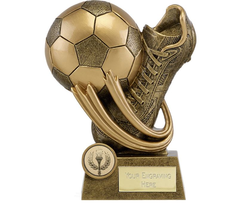"""Epic Resin Football Boot & Ball Trophy 14cm (5.5"""")"""