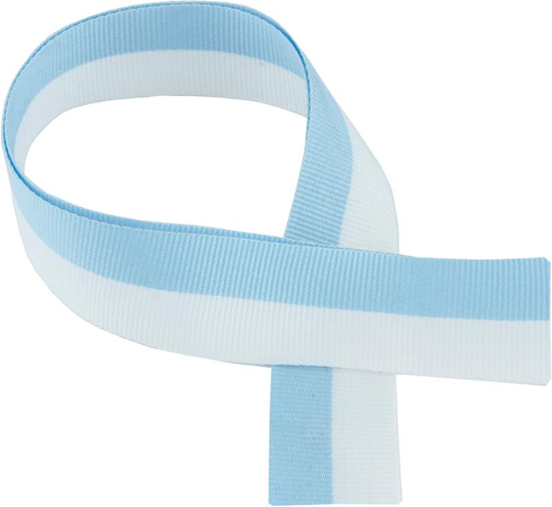 """Sky Blue & White Medal Ribbon 76cm (30"""")"""