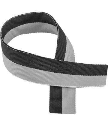 "Black & Grey Medal Ribbon 76cm (30"")"