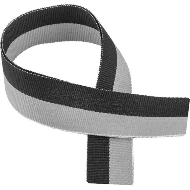"Black & Grey Medal Ribbon 80cm (32"")"