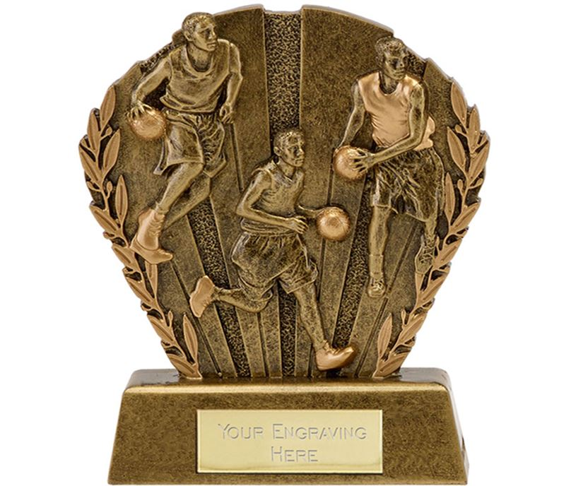"""Antique Gold Resin Laurel Basketball Trophy 9cm (3.5"""")"""