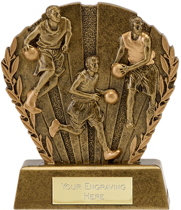 "Antique Gold Resin Laurel Basketball Trophy 9cm (3.5"")"
