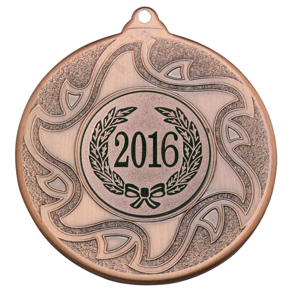 "2016 Bronze Sunburst Star Patterned Medal 50mm (2"")"