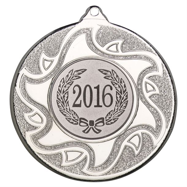 "2016 Silver Sunburst Star Patterned Medal 50mm (2"")"