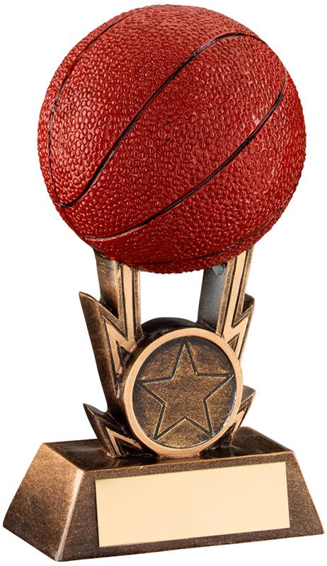 """Antique Gold Resin 3D Basketball Trophy 15cm (6"""")"""