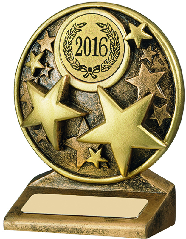 "2016 Round Gold Resin Multi Star Trophy 9cm (3.5"")"