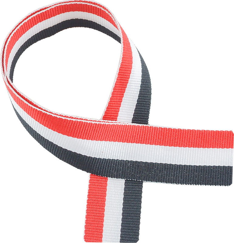 "Red, White & Black Medal Ribbon 76cm (30"")"