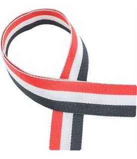 """Red, White & Black Medal Ribbon 76cm (30"""")"""
