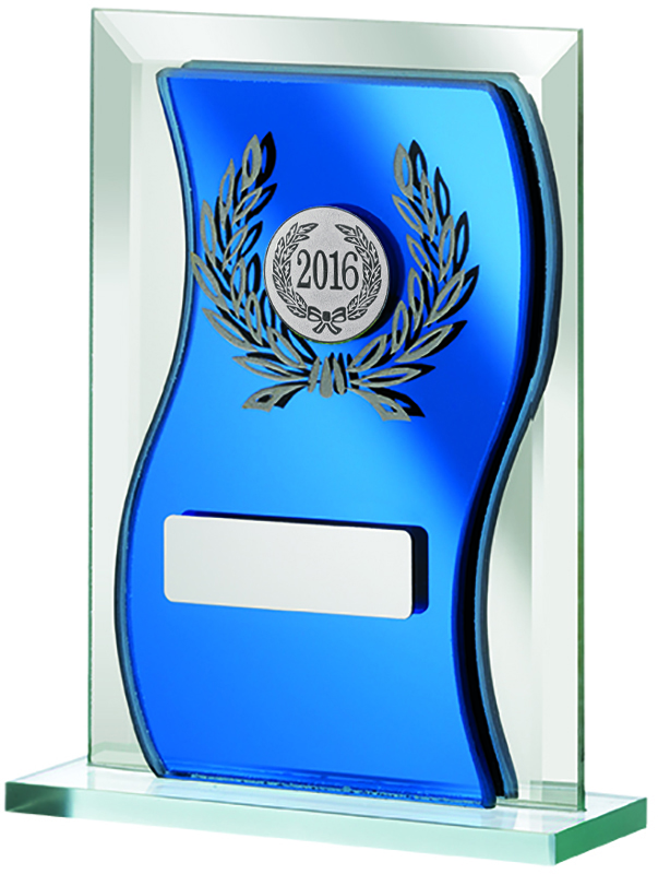 "2016 Blue Mirrored Glass Plaque Award 15cm (6"")"