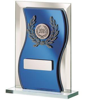 "2016 Blue Mirrored Glass Plaque Award 15cm (6"")"