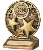 "2014 Round Gold Resin Multi Star Trophy 9cm (3.5"")"