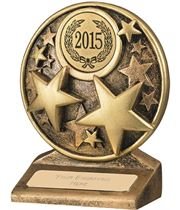 "2015 Round Gold Resin Multi Star Trophy 9cm (3.5"")"