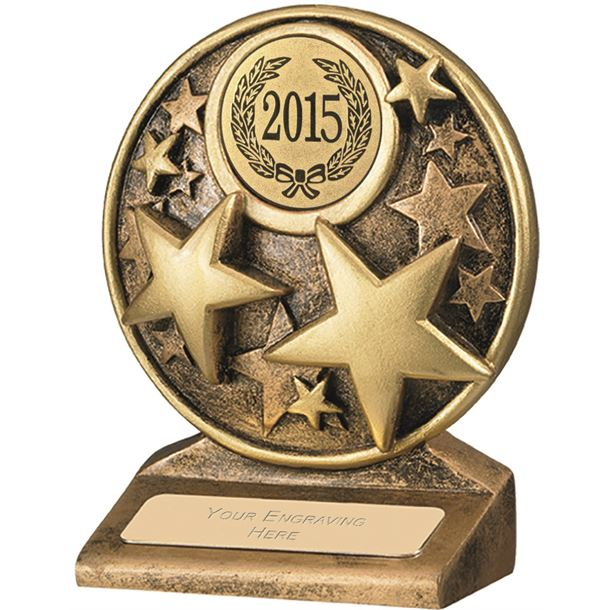 "2015 Round Gold Resin Multi Star Trophy 11cm (4.25"")"