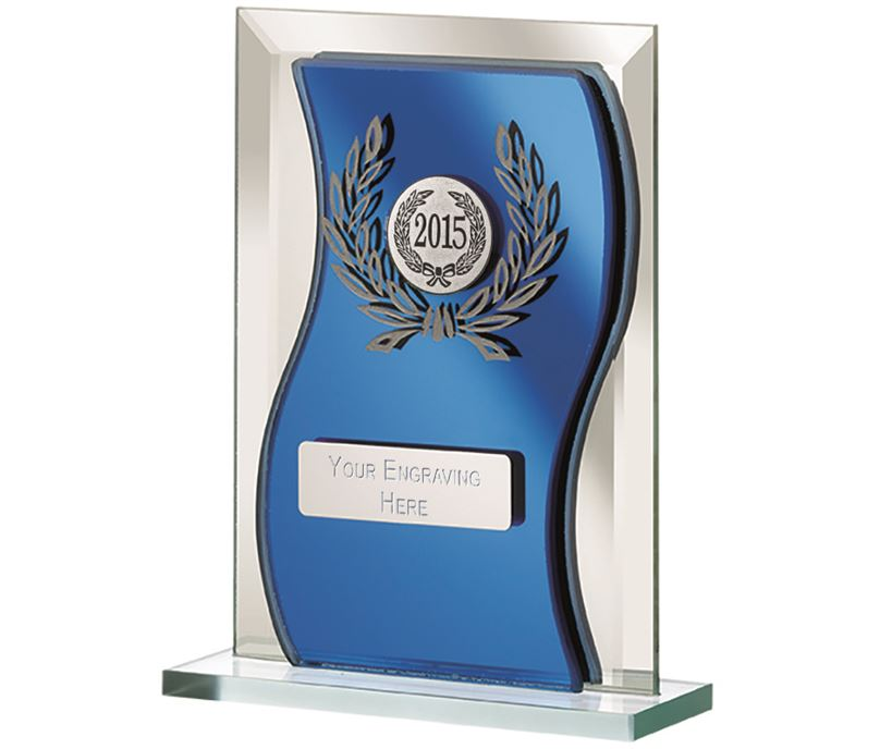 "2015 Blue Mirrored Glass Plaque Award 15cm (6"")"
