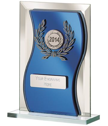 "2014 Blue Mirrored Glass Plaque Award 15cm (6"")"