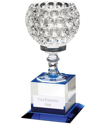 "Clear and Blue Glass Goblet On Block Base Trophy 19.5cm (7.75"")"