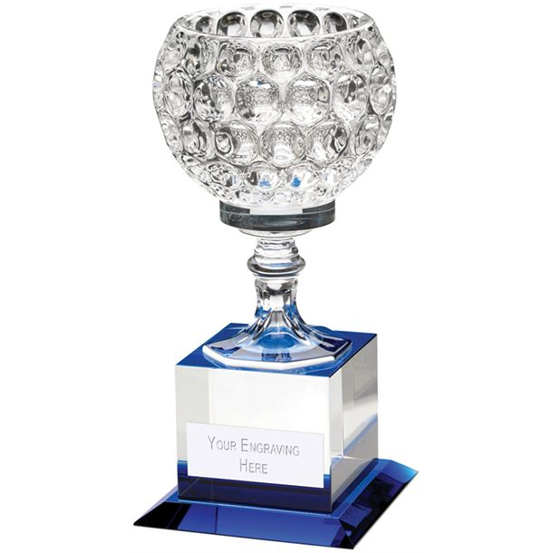 "Clear and Blue Glass Goblet On Block Base Trophy 21.5cm (8.5"")"