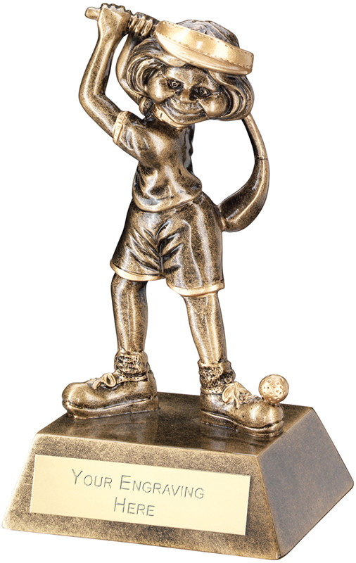 "Antique Gold Female Comic Golf Figure Trophy 14cm (5.5"")"