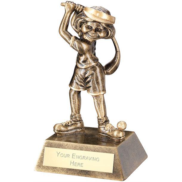 "Antique Gold Female Comic Golf Figure Trophy 14cm (5.5"")"