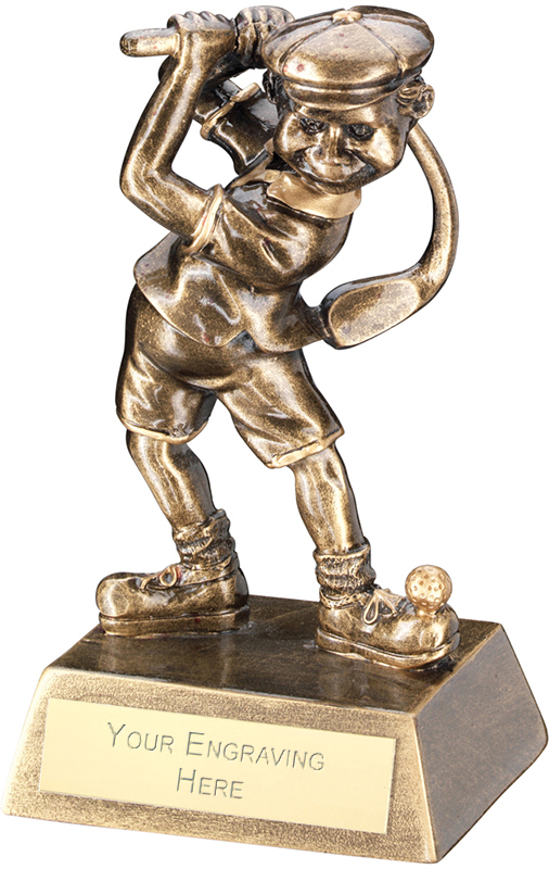 "Antique Gold Male Comic Golf Figure Trophy 14cm (5.5"")"