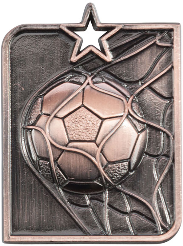 Bronze Centurion Star Football Square Medal 53mm x 40mm