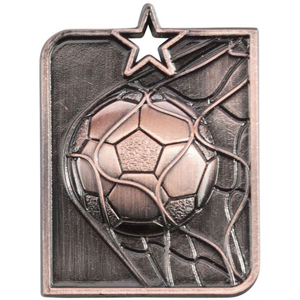 "Bronze Centurion Star Football Square Medal 53mm x 40mm (2.25"" x 1.5"")"