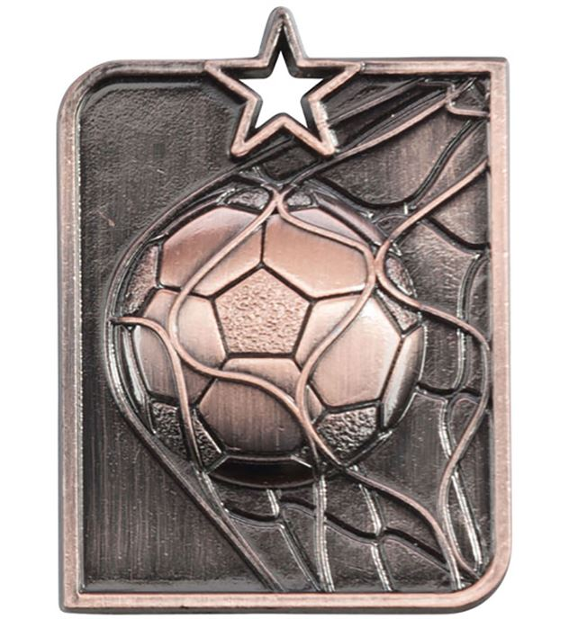 "Bronze Centurion Star Football Square Medal 53mm x 40mm (2.25"" x 1.5"")"