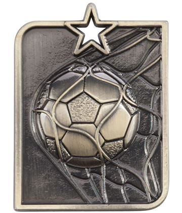 "Gold Centurion Star Football Square Medal 53mm x 40mm (2.25"" x 1.5"")"
