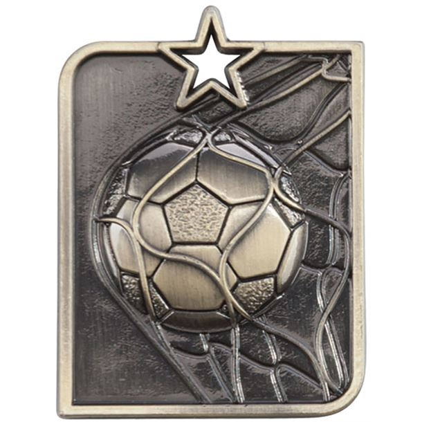 "Gold Centurion Star Football Square Medal 53mm x 40mm (2.25"" x 1.5"")"