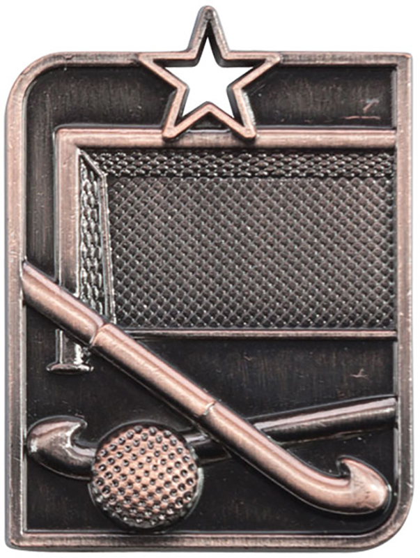 "Bronze Centurion Star Hockey Square Medal 53mm x 40mm (2.25"" x 1.5"")"