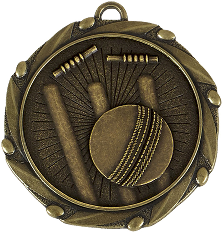 "Gold Cricket Medal with Red, White & Blue Ribbon 45mm (1.75"")"