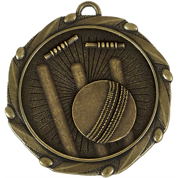 """Gold Cricket Medal with Red, White & Blue Ribbon 45mm (1.75"""")"""
