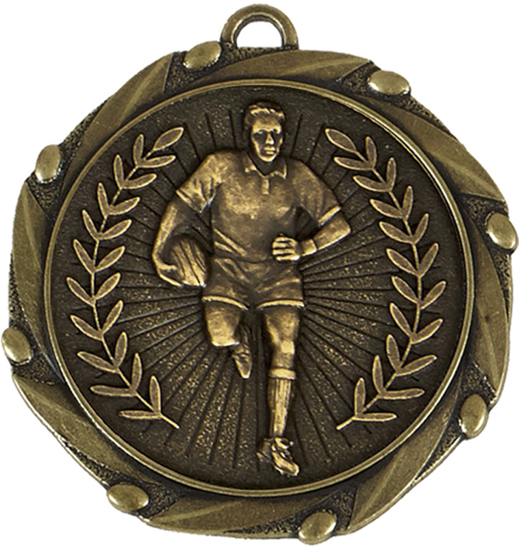 """Gold Rugby Medal with Red, White & Blue Ribbon 45mm (1.75"""")"""