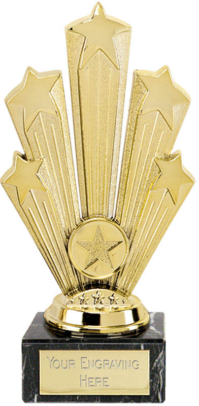 "Star Supreme Trophy On Marble Base Gold 18.5cm (7.25"")"